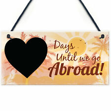 Chalkboard Holiday Countdown Abroad USA New York Turkey Spain Hanging Plaque