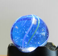 #12832m Bigger Blue Glass German Handmade Coreless Swirl Marble .82 Inches