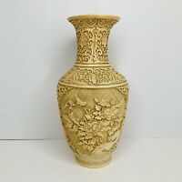 """Vintage Signed Chinese Carved White Cinnabar Vase Flowers Bird Relief 12.5""""Tall"""