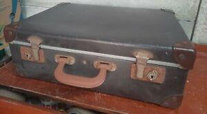 Small Vintage Retro Cheney Brown Suitcase Storage Prop