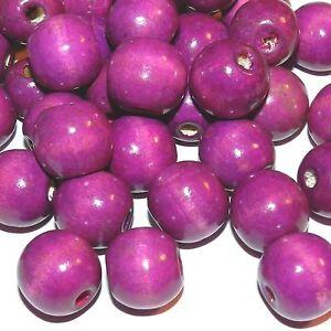 W652 Purple 18mm Semi- Round Wood Beads 1oz Package (18pcs)