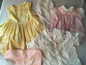 Vintage Baby Girl Clothes Lot I Magnin Sears Henson Kickernick Dress Bib Slip