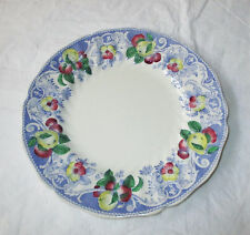 "Royal Doulton England POMEROY 8.5"" Salad Plate Blue Rim Red Yellow Fruit Flowers"