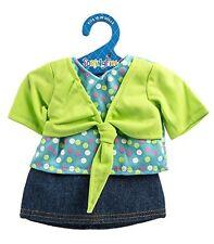 Fiber Craft Springfield Collection Shrug/Skirt for Doll, Lime/Denim -New!