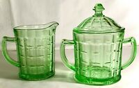 "Hazel Atlas Green Modernistic ""Colonial Block"" Sugar And Creamer With Lid"