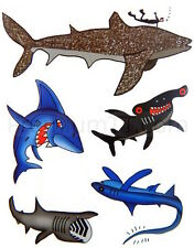 Shark Temporary Tattoos - 6 sheets (30 tattoos) Fake Tattoo - Great White, Whale