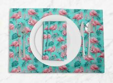 S4Sassy Tropical Leaves & Flamingo Bird Placemats & Napkins Table Mats-BRD-4E