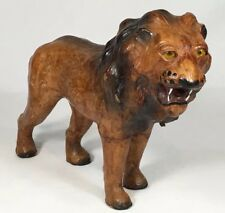 Vintage Leather Wrapped Lion Animal Figure Statue Handmade Art Decor Safari