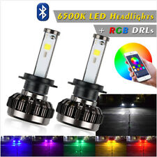 2x H7 LED RGB 72W Car Auto Headlight Driving Fog Bulbs Ballast Kit APP Control