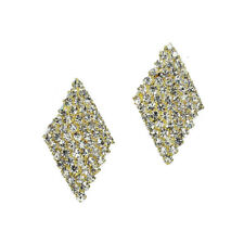 Clear gold tone clip on earrings sparkle diamante rhinestone bridal prom 500-G