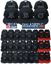 A B C Letter S Embroidery INITIAL Black Adjustable Snap Back Cap Acrylic Hat NEW