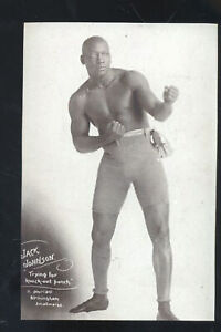 REAL PHOTO BOXING CHAMPION JACK JOHNSON ADVERTISING POSTCARD COPY BOXER