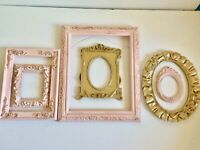 6 Open Picture Frames Vintage Chic Shabby Pink Gold Ornate Distressed Nursery