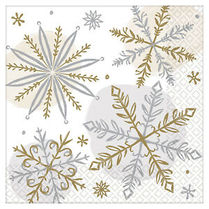 16 x Christmas Party Silver & Gold Snowflake Drinks Beverage Canape Napkins