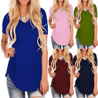 Women's Short Sleeve V-Neck Hem Loose Casual Tee T-Shirt Summer Tunic Top Blouse