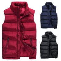 Men's Women Solid Warm Zipper-up Vest Puffy Lightweight Solid Jacket Down Coat