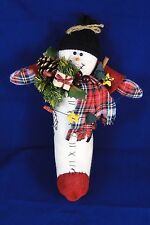 Snowman Inside Stocking Wall Door Hanging Christmas Decor Holiday Plaid Scarf