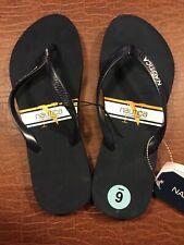 8cdc573db07 Nautica Beach Thong Flip Flops Sandal Size 6 Navy Blue White Gold Stripe