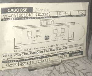 WALTHERS DECALS HO Scale 70-06 Caboose NC & StL NIP