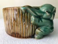 Vintage Bamboo Planter w/Lucky Jade Hugging Elephant Hugging Ceramic Quality
