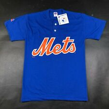 New York NY Mets Youth Boys M Blue T Tee Shirt Henley Two Button Russell #7 NWT