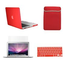 """4 in 1 Red Rubberized Case for Macbook Pro 13"""" A1425 Retina+Key Cover+LCD+BAG"""