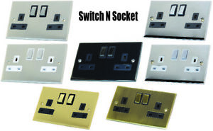 Decorative Metal Double Sockets 13A DP Switched - Various finishes