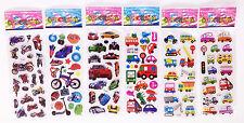"6 sheets 3D foam Classic Cartoon Children""Cartoon car""Stickers Kids Xmas Gift B6"