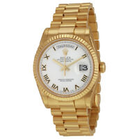 Rolex Day-Date White Dial 18K Yellow Gold President Automatic Mens Watch