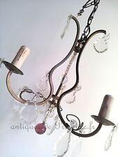 Superbe ancien lustre plafonnier pampille 3 feux laiton déco charme 1900