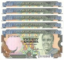 ZAMBIA 20 KWACHA 1989 - 1991 UNC CONSECUTIVE 5 PCS LOT P.32