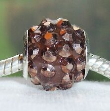 2PC Iridescent Brown Rhinestone Spacer Beads for Silver European Charm Bracelets