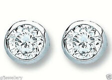 RHODIUM PLATED 925 HALLMARKED SILVER 4MM RUBOVER SOLITAIRE STUD EARRINGS