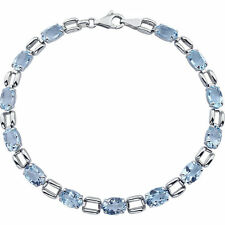 "Natural Sky Blue Topaz Line Tennis Bracelet in 14K Solid White Gold 7.15"" length"
