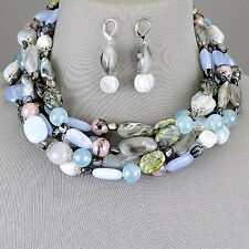 Layered Labradorite Stone Multi-Colored Smooth Choker Necklace With Earrings