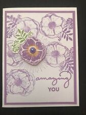 """Stampin Up Card Kit Set Of 4 """"Amazing You"""" White Embossed Lavender Flower"""