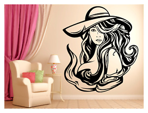 SEXY LADY WEARING HAT BEAUTY HAIR SALON SPA ROOM WALL VINYL DECAL MURAL 22X25in