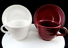 "HOMER LAUGHLIN GENUINE FIESTAWARE 4 PC CLARET & WHITE 2 3/4"" CUP & SAUCER SETS"