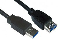 2MTR USB 3.0  Extension Lead A Male to A Female Cable Extender 2 Metre Black