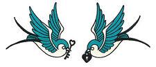 Key & Locket Swallows Patch Pair Rockabilly Psychobilly Hipster Bird Feather