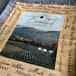 Burntshirt Vineyards Tapestry Throw Blanket 54x63 Woven Fringe Wine Rustic Decor