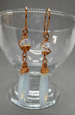 EARRINGS, OPALITE DROPS & BEADS; COPPER WIRE WRAPPED - 01696