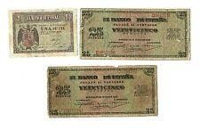 Lote 3 Billetes España 1 y 25 Pesetas, Usados