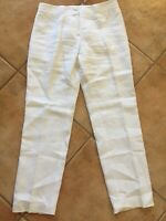 Brooks Brothers Womens Sz 2 White Linen Pants Wide Waist Band Zip Closure Lined