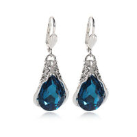 Blue Crystal Rhinestone Drop Dangle Earrings Ear Studs Woman Wedding JewelTE