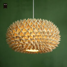 Woven Palm Leaf Braided Pendant Light Fixture Asian Style Hanging Ceiling Lamp