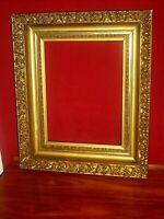 "ANTIQUE ORNATE GOLD GILT CARVED FLORAL SCROLL GESSO WOOD PICTURE FRAME 18"" X 15"""