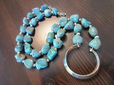 """925 Mexico Sterling Silver Signed VTG Navajo Style Turquoise Nugget Necklace 22"""""""