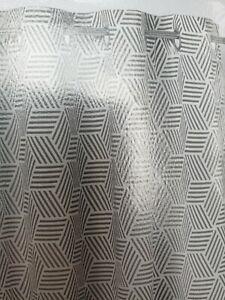 Grey & White Cotton Geometric Unlined Eyelet Curtain (W)167cm (L)228cm, Single