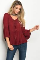 Women Wine Boho Peasant top Blouse Relaxed Fit Lace Up Bell Sleeve Tassels Comfy